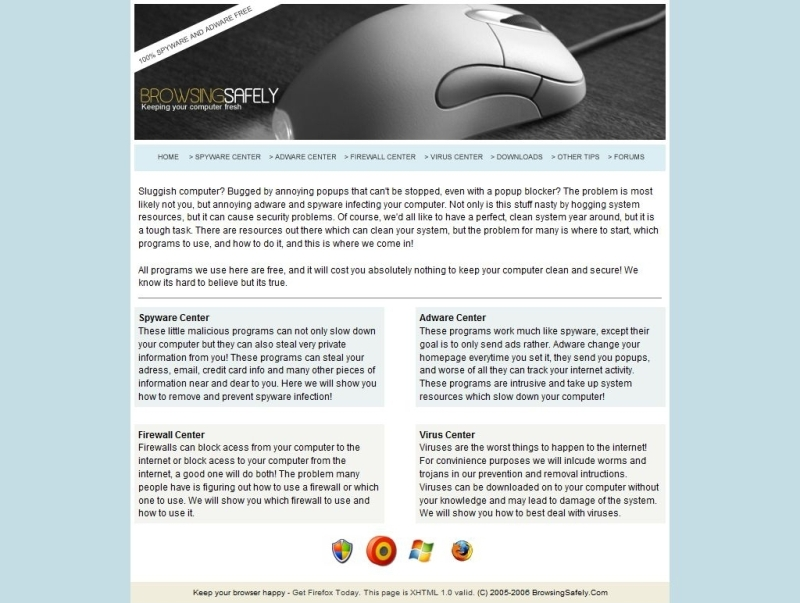 Browsing Safely Website Screenshot